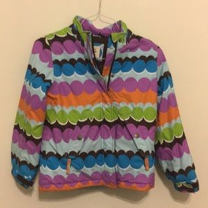 Mini Boden girls winter jacket polka dot